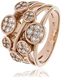 0.95CTS Certified G/VS2 Brilliant Cut Fancy Three Strand Bubble Dress Ring in 18k Rose Gold