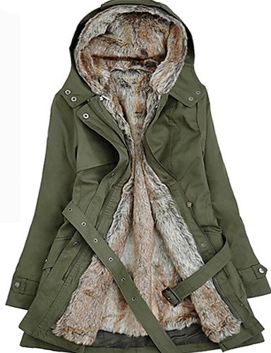 YRF/ Manteau TS Long Décontracté / Grandes Tailles Manches Longues Polyester army green-l