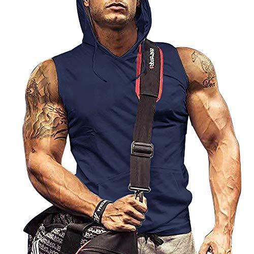 iWoo Herren Tank Top Gym mit Kapuze Pocket Gym Hoodie ärmellos Muscle Shirt