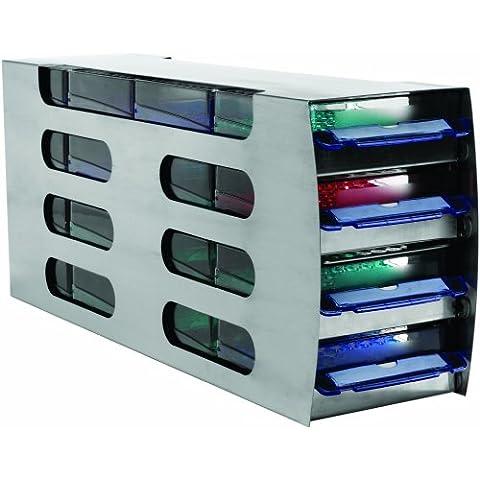 Heathrow Scientific HD2864 Arctic - Organizador de para congelador de laboratorio (cuadrado, horizontal, con cuatro cajones, acero