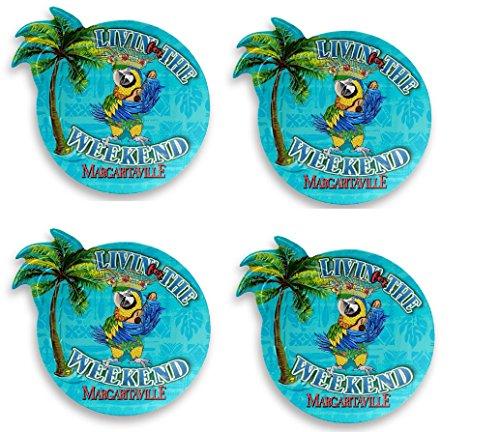Melamin-Teller, Margaritaville, Polynesian Papageien, Blau, 4 Stück -