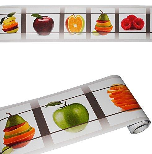 """Wandbordüre - selbstklebend - """" Früchte / Obst """" - 2,5 m - Wandsticker / Wandtattoo - Bordüre Aufkleber - für Küche / Wohnzimmer - Kinder & Erwachsene - Frucht Esszimmer - Wandborte - Borten - Tapetenbordüre / selbstklebende - Wandbordüren - Bordüren - Kinderzimmer"""