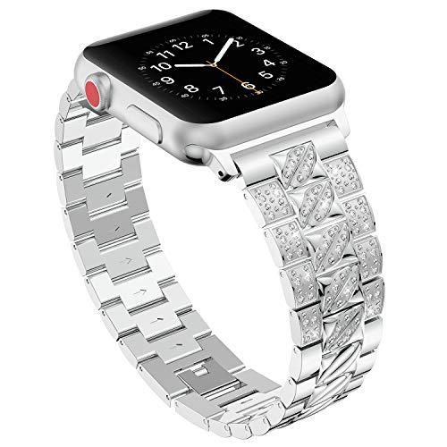 Bands für Apple Watch 42mm 44mm,Silber Damen Edelstahl Sport Uhr Armband für iWatch Series 4 44mm,Metall Bling Armbänder für Series 3 2 1 42mm Edition Nike+