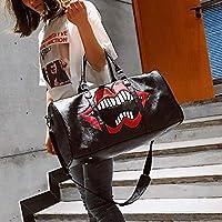 Bolsa de Labios Rojos de Cuero PU Bolsos de Viaje Ocasional del Hombro (Color: Negro),ChenYanDong (Color : Black)