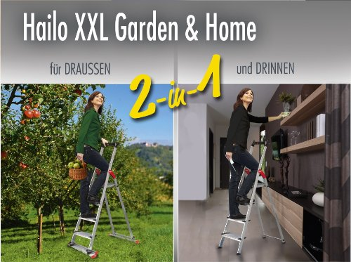 Hailo 8020-501  XXL Garden and Home Aluminium Safety Step Ladder with 5-Extra Deep Comfort Steps