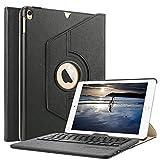 Boriyuan Ipad Pro 9,7 Hülle Bluetooth Tastatur, 360 Grad drehbar Leder Case Keyboard Schutz Tasche Cover mit Bluetooth Tastatur (Deutsche QWERTZ) für Apple iPad Pro 9,7 Zoll 2016 Modell Tablet-PC ( Farbe: Schwarz)