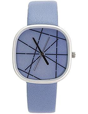 chronomart nafīsa groß quadratisches Zifferblatt Sky Blau Lederband Damen Fashion Armbanduhr na-0062