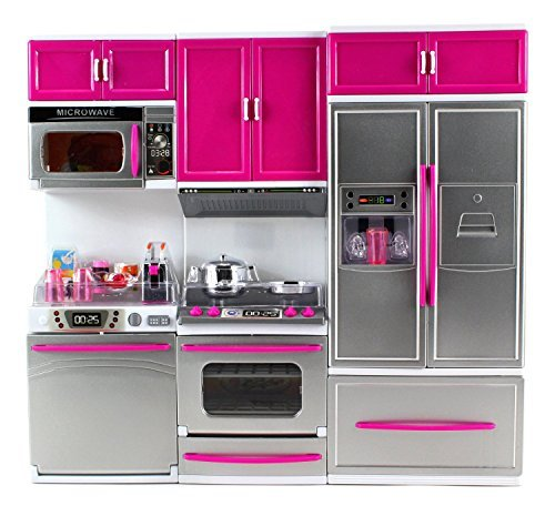 CHIMAERA My Modern Kitchen Full Deluxe Kit Battery Operated Kitchen Playset: Refrigerator Stove Microwave