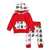 Neonato Bambino Unisex Maniche Lunghe Cervo Felpa Con Cappuccio Abbigliamento & Pantaloni Vestito Di Natale Set (12M)