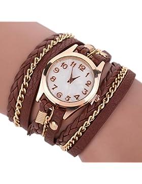 Dosige 1pcs Lederarmband Armbanduhr Armband Uhr Mode Zifferblatt Uhr Dame und Mädchen (Braun)