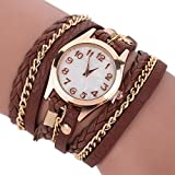 Scrox 1Pcs Fashion Leather Braided Watch Ladies Quartz Wrist Watch Bracelets (Brown)
