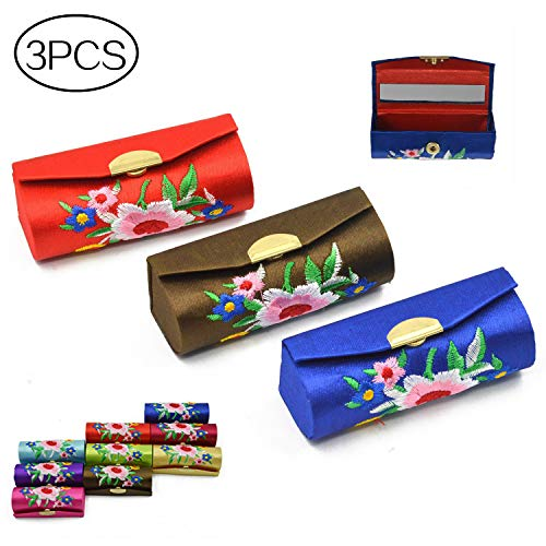 Vococal 3pcs Mode Retro Blume Muster Premium Stickerei Lippenstifte Case Box mit Spiegel, Zufällige Farbe - Brocade Mode