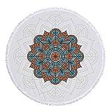 xkjymx Asciugamano Tondo in Microfibra Telo Mare Stampa Mandala con Fiocco 150 cm Figura 2 150X150 cm