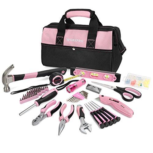 WORKPRO Werkzeugset Rosa Lady Reparaturset mit Weite Mund geöffnet Aufbewahrungstasche 75-teilig