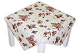 Hossner Tischdecke Weihnachten Gobelin Beige Glöckchen Weihnachtsdecke Weihnachtstischdecke (85x85 cm)