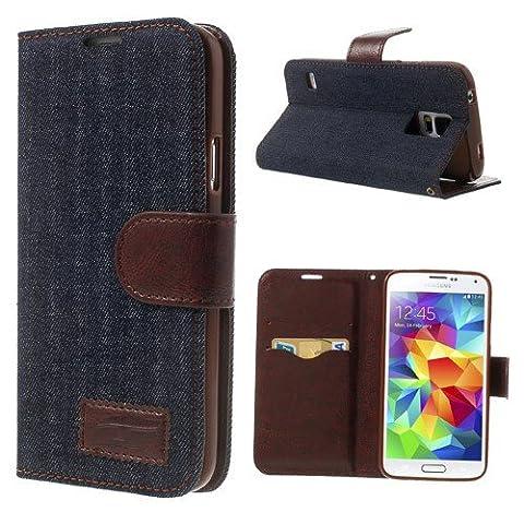 delightable24 Coque de Protection Style Carnet Portefeuille Bookstyle Flip Case pour Samsung Galaxy S5 / S5 Neo Smartphone - Jeans Dark Blue