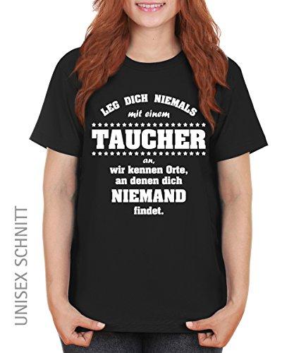 -- Leg dich niemals mit einem Taucher an -- Girls T-Shirt auch im Unisex Schnitt Schwarz