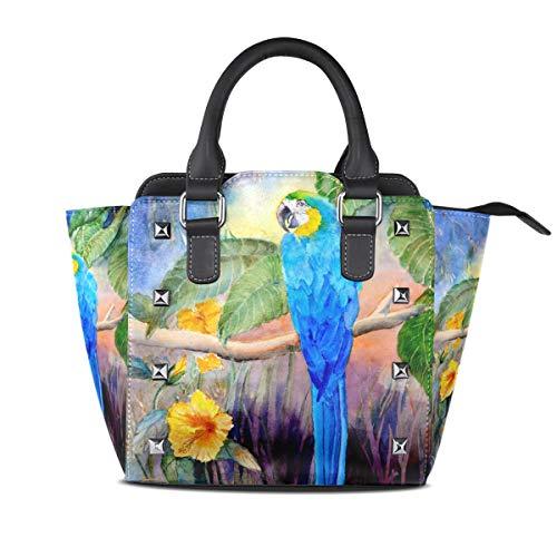 XiangHeFu Damen Handtaschen Tree Branch Papagei Vogel Tote PU Leder -