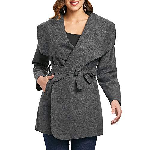 Gaodaweian Krawatte Taille Filz Mantel Damenmode Outwear Floral Lange Mantel Kragenlose Offene Lange Blazer Turndown (Color : Gray, Size : M) -
