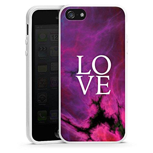 Apple iPhone 4s Housse Étui Silicone Coque Protection Amour Rose vif Motif lilas Housse en silicone blanc