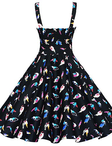 PU&PU Robe Aux femmes Grandes Tailles / Vintage / Soirée / Travail / Décontracté , Fleur / Imprimé / Géométrique A Bretelles / Bateau Mi-long white-m