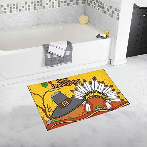 Kostüm Mann Kolonial - ZHANGhome Easy Edit Thanksgiving Harvesting Benutzerdefinierte rutschfeste Badematte Teppich Bad Fußmatte Boden Teppich für Badezimmer 20 X 32 Zoll