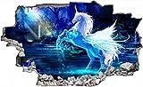 Blaues Einhorn Wandtattoo Wandsticker Wandaufkleber C0630 Größe 70 cm x 110 cm