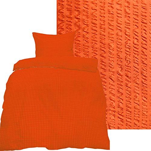 KH-Haushaltshandel 2-TLG. Seersucker Bettwäsche 135x200 +80x80cm, Uni einfarbig, orange, Reissverschluß, bügelfrei, Microfaser (60287)