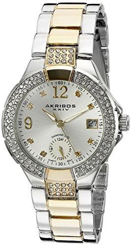 Montre Akribos XXIV - AK775TTG - Mouvement à quartz suisse - Cadran argenté - Index pour les heures en diamant - Pour femme