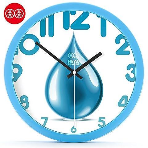 YANYANGXIN Moderne bunte stummer Wanduhr Home Office Decor Geschenk für Küche Wohnzimmer Schlafzimmer Blau Wassertropfen/12 Zoll/blau Kunststoff Box