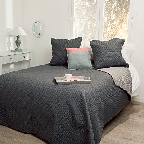 Copriletto trapuntato con 2 copri cuscino - morbido e caloroso - dimensione grande - bicolore grigio scuro / grigio topo chiaro .