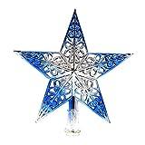Eizur Punte Albero di Natale Scavato Albero di Natale stella Albero di Natale Top Star Decorazione Natalizia - Blu