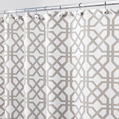 mDesign Duschvorhang mit Steingittermuster - ideales Badzubehör mit perfekten Maßen: 180 cm x 200 cm - langlebige Duschgardine - Farbe: grau