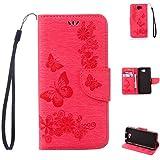 Huawei Y5 II Handyhülle Book Case Huawei Y5 2 Hülle Klapphülle Tasche im Retro Wallet Design mit praktischer Aufstellfunktion - Etui in rot