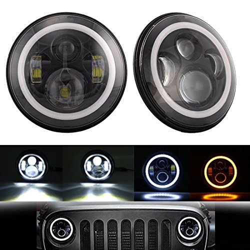 SUPAREE LED Phare Avant 7 Pouces 40W avec Angel Eye Ring + Indicateur de Direction DRL Ambré pour Wrangler JK TJ LJ, 2 pcs