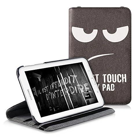 kwmobile Hülle für Samsung Galaxy Tab 3 7.0 Lite T110 / T111 - 360° Standfunktion Case Tablet Schutzhülle Kunstleder - Smart Cover Tabletcase Don't touch my Pad Design Weiß Schwarz