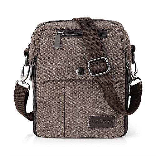 Zicac- Los nuevos bolsos de hombres de la vendimia de la lona multifunción Viajes Satchel / Mensajero bolso pequeño (café)