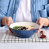 Kreative Großraum-Küchengeschirr aus Keramik Ramenschüssel Obstsalatschüssel, Durchmesser 20 cm, blau (Farbe : Dunkelblau)