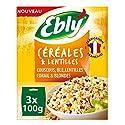 EBLY Céréales & Lentilles Couscous/Blé/Lentilles Corail/Blondes Cuisson 10 Minutes 3 Sachets de 100 g