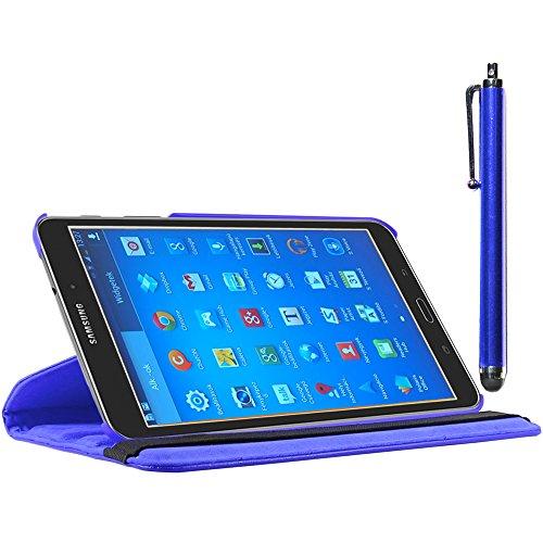 ebestStar - kompatibel Samsung Galaxy Tab 4 8.0 Hülle SM-T330, T331 SM-T335 Rotierend Schutzhülle Etui, Schutz Hülle Ständer, Rotating Case Cover Stand + Stift, Blau [Tab: 210 x 124 x 8mm, 8.0'']