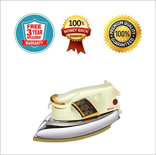 Rico Heavy Weight Iron Box for Press Clothes Electric 1000w Dry Iron Golden Coating Plancha AI11 Golden American Heritage Coating (3 Year Free Replacement Guarantee) Premium Quality Japanese Technology