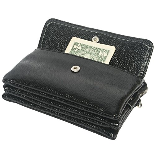 Kilofly pochette borsetta da polso donna morbido in pelle + Kilofly Money clip Black