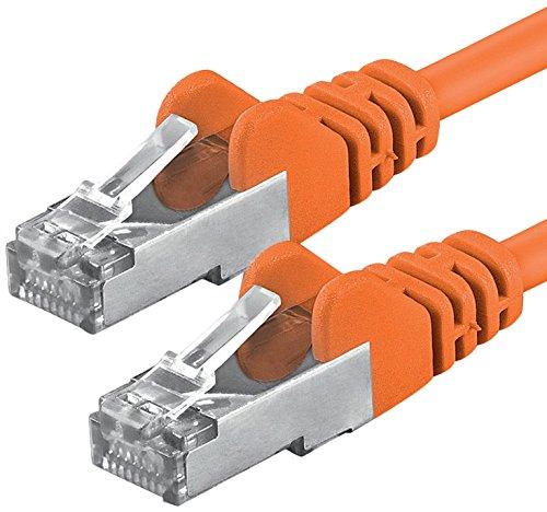 1aTTack.de Netzwerkkabel CAT5 CAT 5e Netzwerk-Kabel Patch-Kabel 2X RJ45 Stecker Folien + geflechtgeschirmt CAT 5 SFTP ORANGE - 7,5m 7,5 Meter