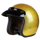 Gold Retro Open Face Motorradhelm DOT Approved 3/4 Leder Chopper Cruiser Jet Bobber Motorrad Crash...