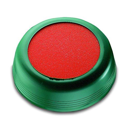 Läufer 69234 Anfeuchter, zum Anfeuchten von Briefumschlägen oder Briefmarken, rund, Ø 8,5 cm, flexible grüne Hülle, oranger Schwamm