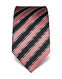 Vincenzo Boretti Herren Krawatte reine Seide gestreift edel Männer-Design gebunden zum Hemd mit Anzug für Business Hochzeit 8 cm schmal/breit altrosa