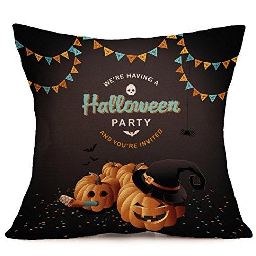 Halloween Kissenbezüge, LSAltd Leinen Schlafzimmer Kissenbezug Home Decor (Herz Katze Kostüm Emoji)