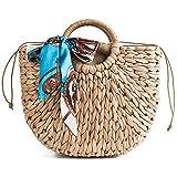 Xixik Korbtaschen Damen Rattan Tasche Schal Dekoration Stroh Strandtasche Vintage Handarbeit Umhängetasche Kleine Sommer Korbtaschen Geflochten Umhängetasche Damen