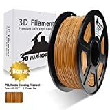 3D Warhorse 3D Filament, ABS 3D Printer Filament 1.75mm, 1KG Spool(2.2lbs),3D Printing Filament Dimensional Accuracy +/- 0.02mm-Bonus with 5M PCL Nozzle Cleaning Filament (Coffee/Brown)