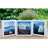 3er Set Foto auf Holz, im Quadrat, 14x14 Gletscher in Island
